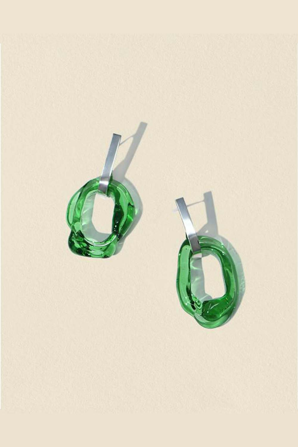 Minimal Loop Earrings Green