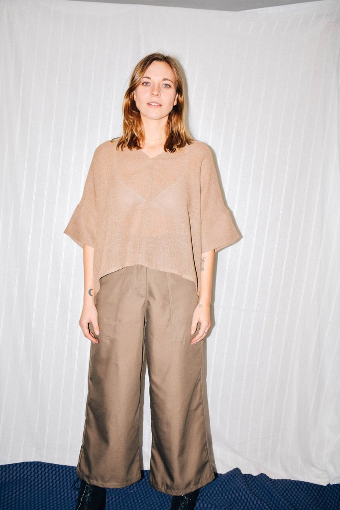 Bailey Boxy Top Camel Linen