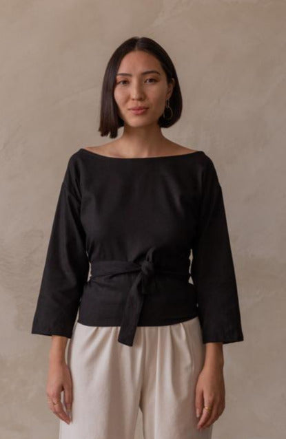 Rhoda Wrap Top Black