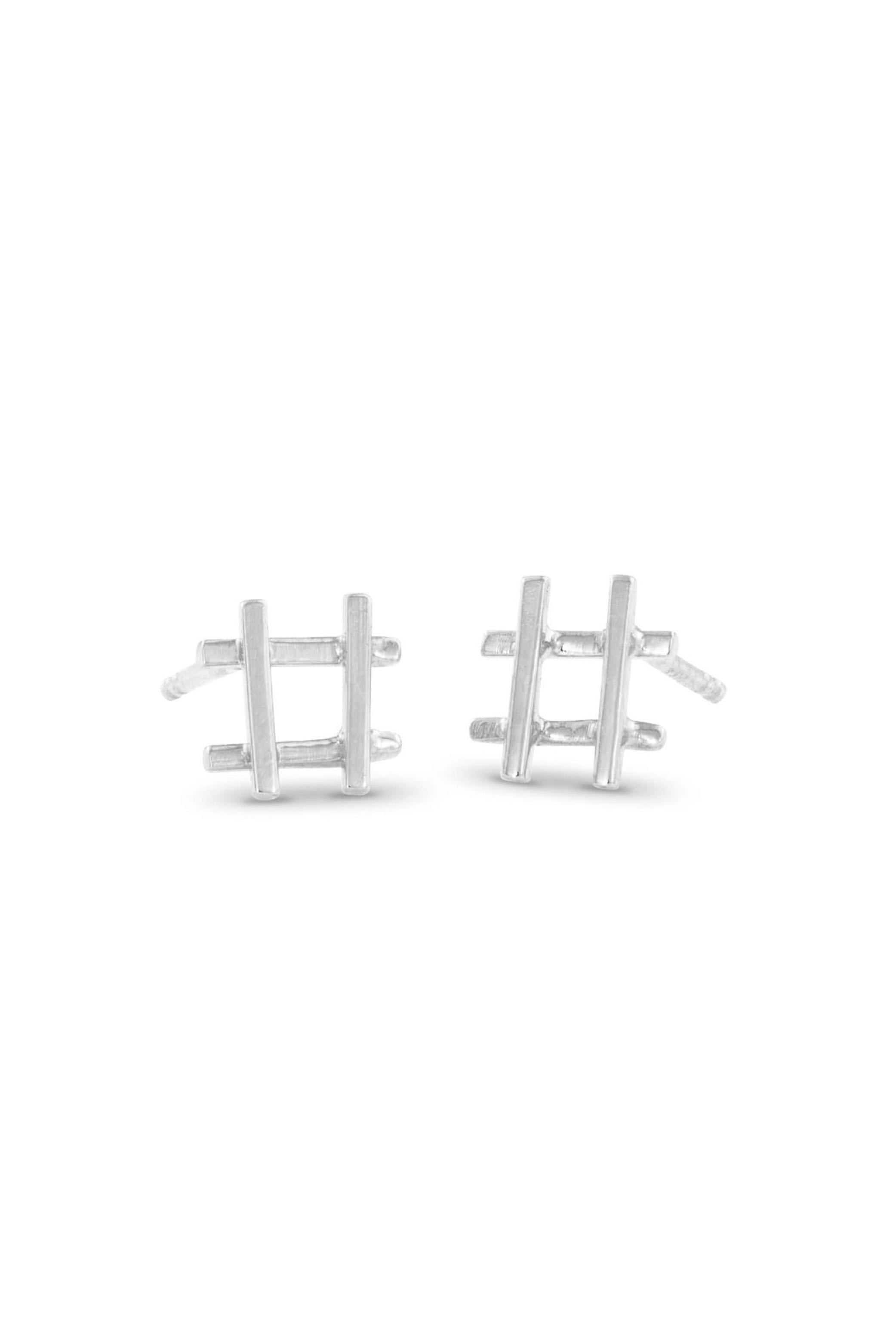 Silver Hashtag Earrings