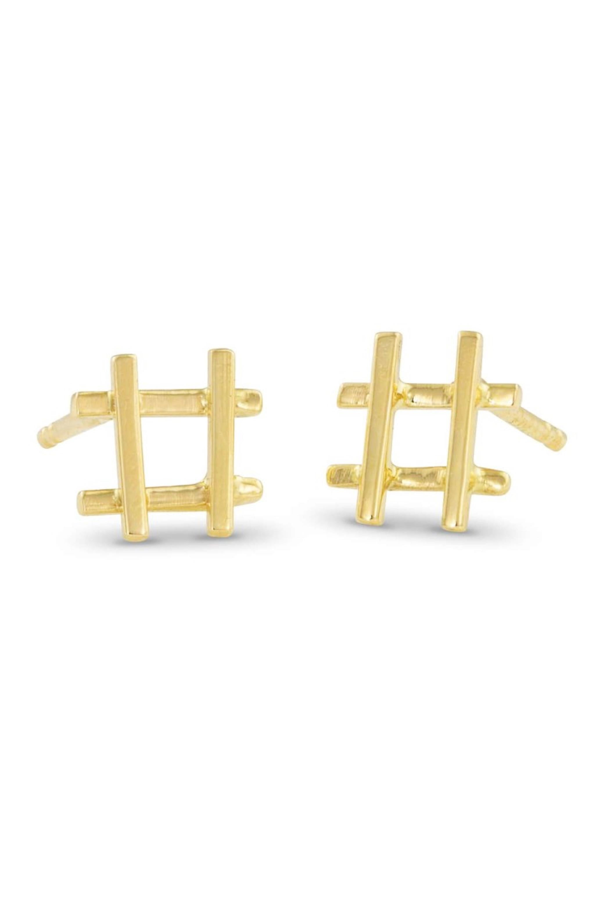 Gold Hashtag Earrings