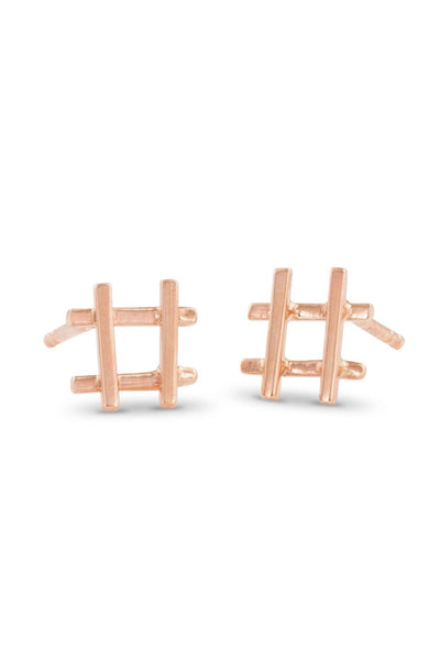 Rose Gold Hashtag Earrings