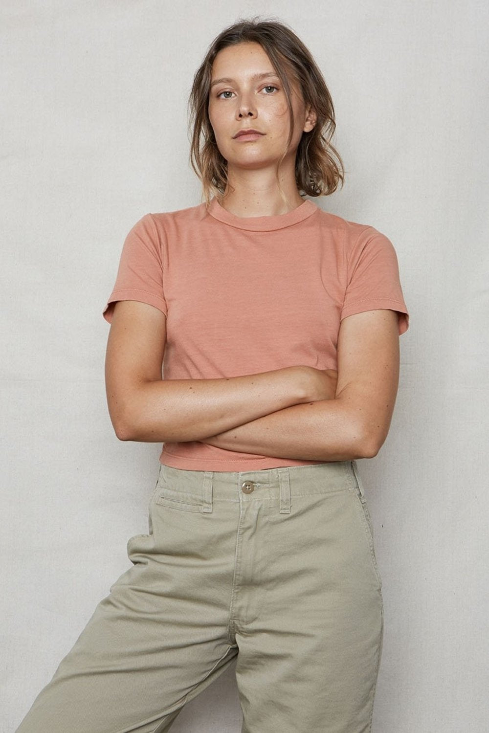 Dusty Pink Hemp Crop Tee