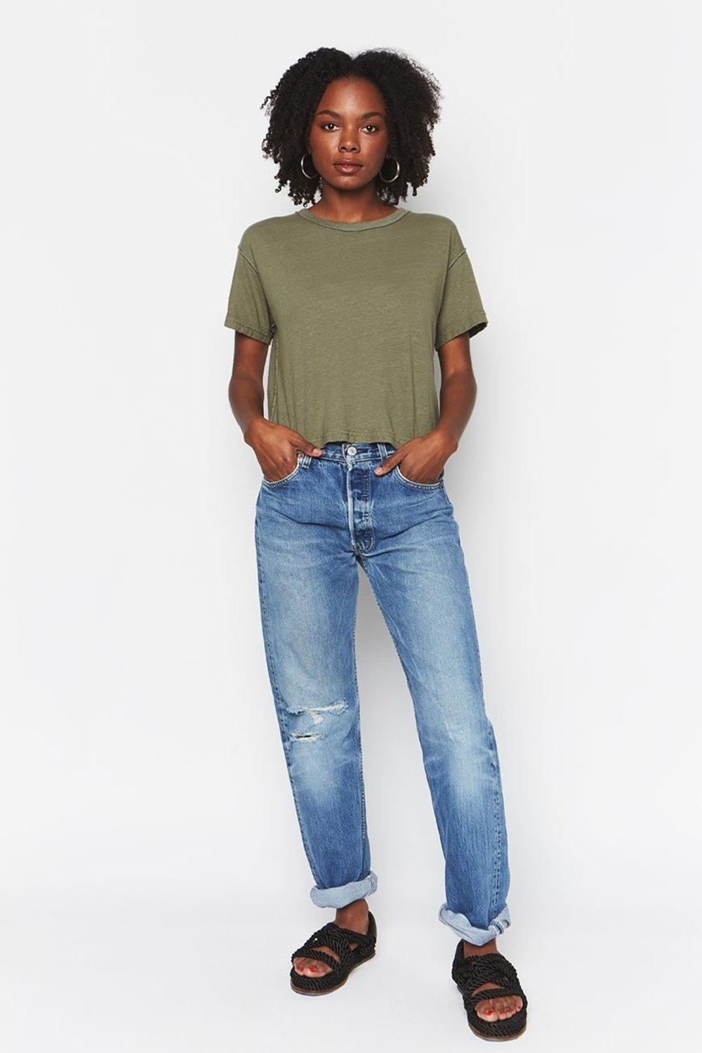Inside Out Crop Tee Olive
