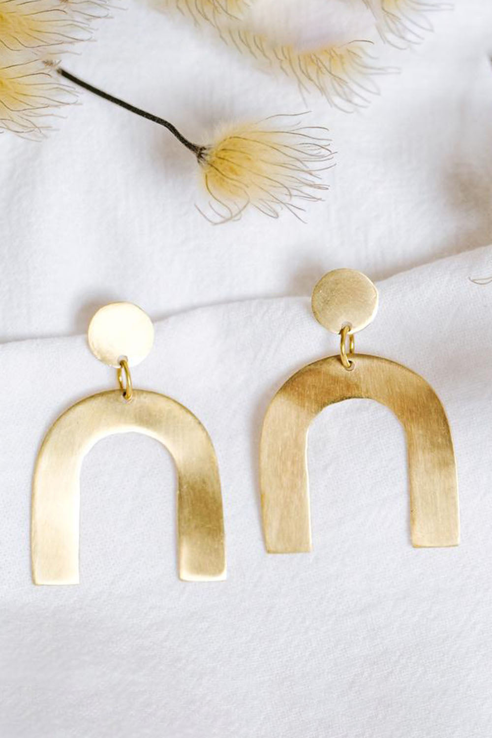Petite Arch Earrings Brass