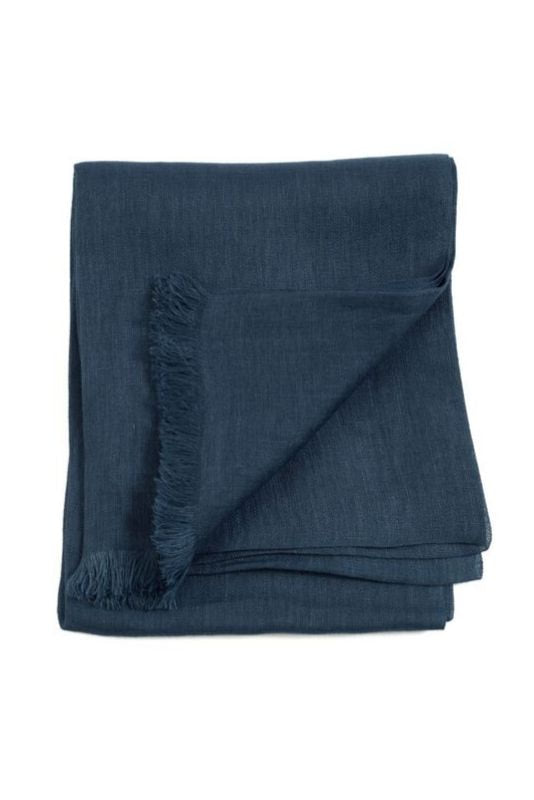 Midnight Blue Linen Scarf