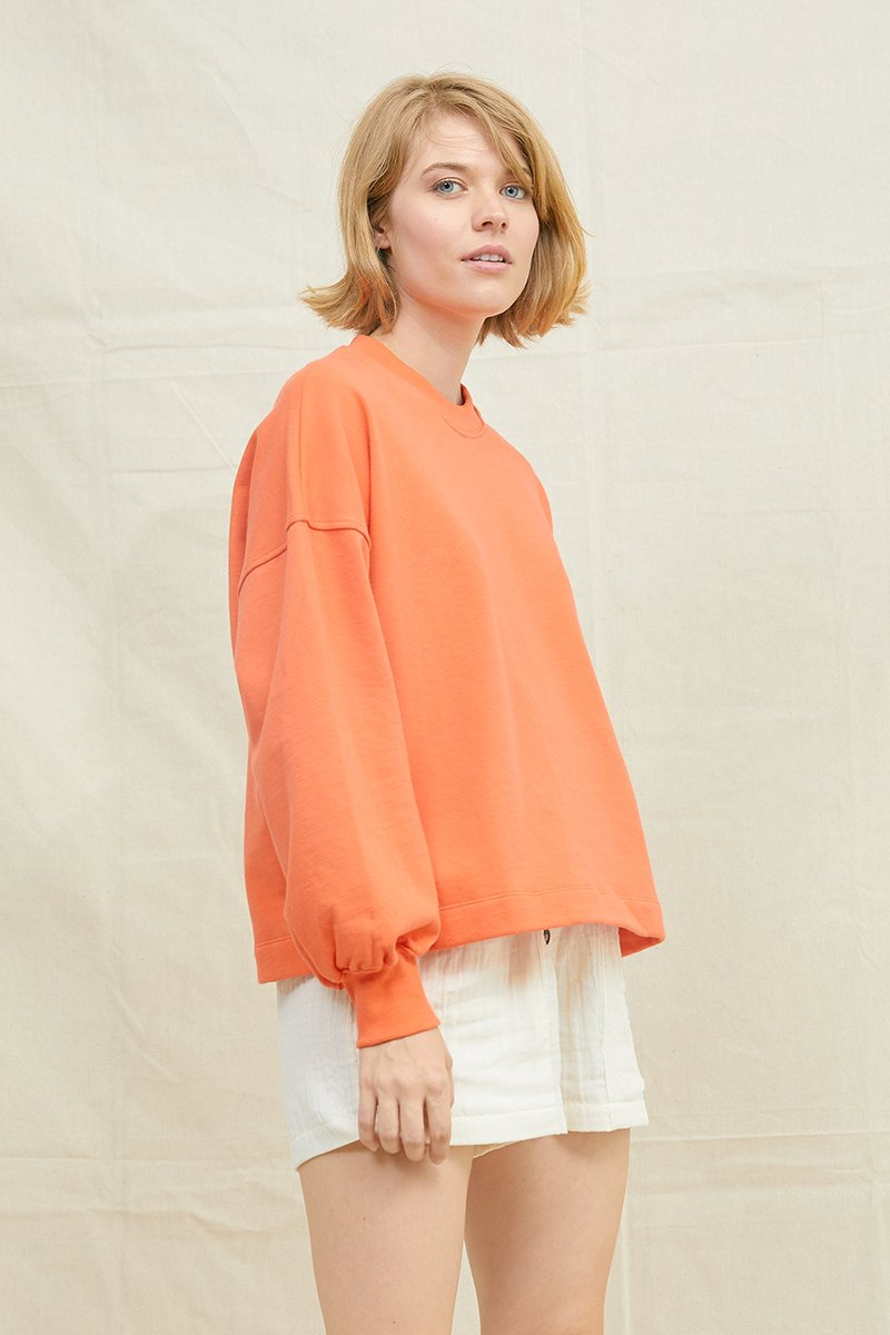 Puff Sleeve Sweatshirt Blood Orange