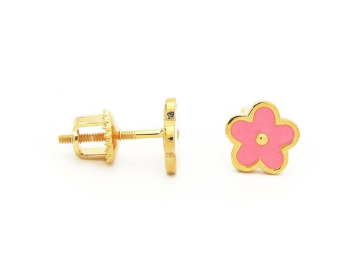 BecKids Pink Daisy Flower Screwback Stud Earrings
