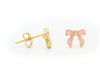 BecKids Girls Pink Enamel Ribbon Stud Earrings 5mm