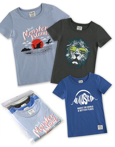 3 Pack Boys Short Sleeve T-shirts Sporty