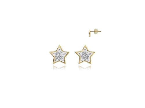 18k Yellow Gold Diamond Star Stud Earrings