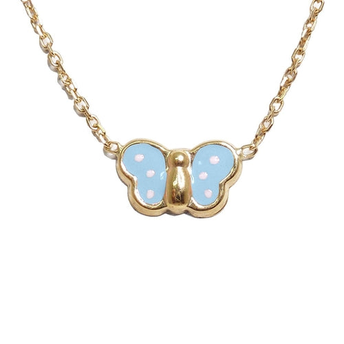 BecKids 18k Gold Blue Enamel Butterfly Necklace