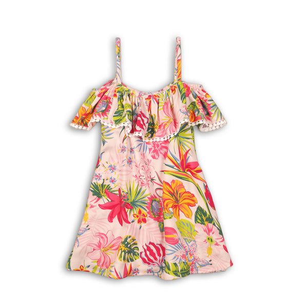 Girls Tropical Tassle Trim Dress