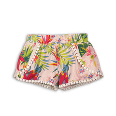 Girls Lightweight Tropical Print Short