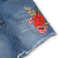 Girls Denim Embroidery Skirt