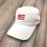 APO Flag Baseball Cap - White - Red