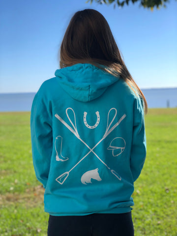 Tack Crossing Hoodie in Lagoon Blue, Womens