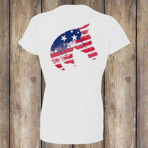 Patriot Pony Women's T-Shirt Back American Pony Outfitters