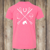 Tack Crossing Back - Neon Pink, Youth T-shirt YT-APO-300