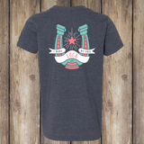 Lucky Horseshoe Back - Heather Navy, Youth T-shirt - YT_APO-400