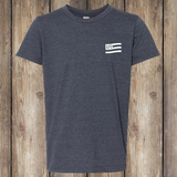 Lucky Horseshoe Front - Heather Navy, Youth T-shirt - YT_APO-400
