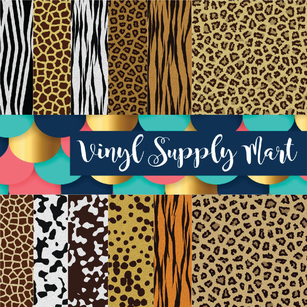 Animal Pattern Vinyl, Cow, Leopard, Cheetah, giraffe, zebra, tiger