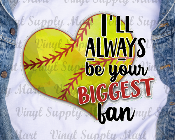 *Biggest Fan - Softball Heart Transfer
