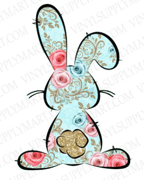 *Bunny (Aqua Floral) - SUBLIMATION TRANSFER