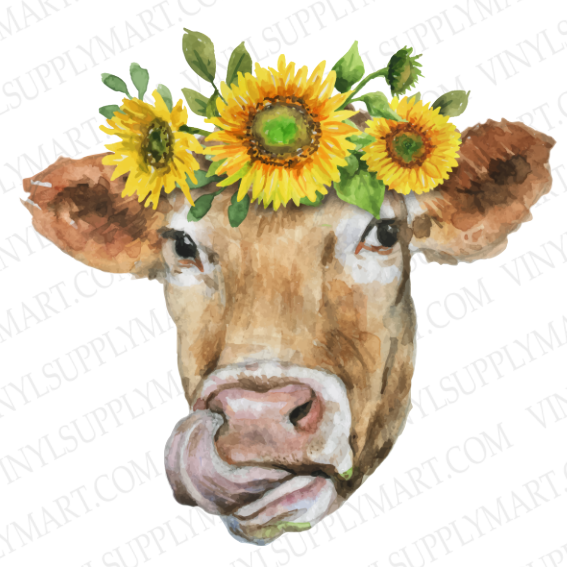 cow, transfer, sunflower, htv, adhesive
