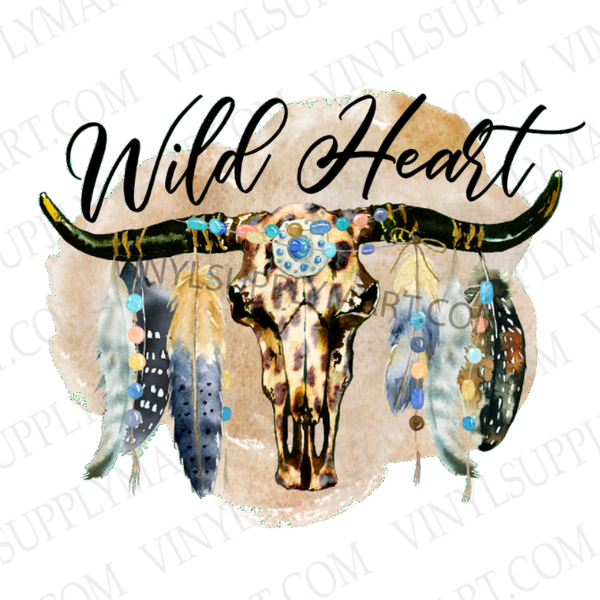 *Cow Skull and Feathers - Wild Heart - HTV Transfer