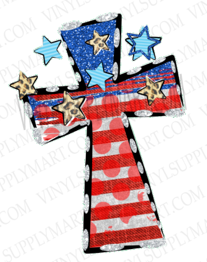 *Cross - Flag & Stars - SUBLIMATION TRANSFER