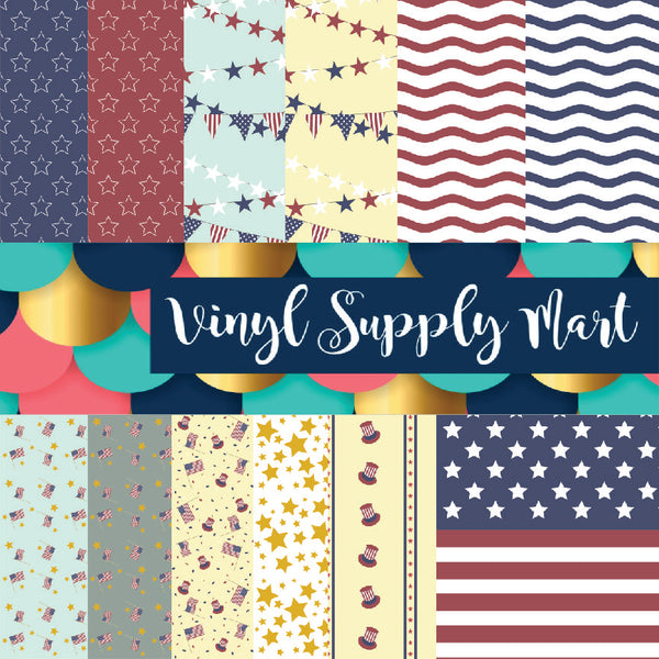 Stars and stripes, july 4th, flag, pattern vinyl