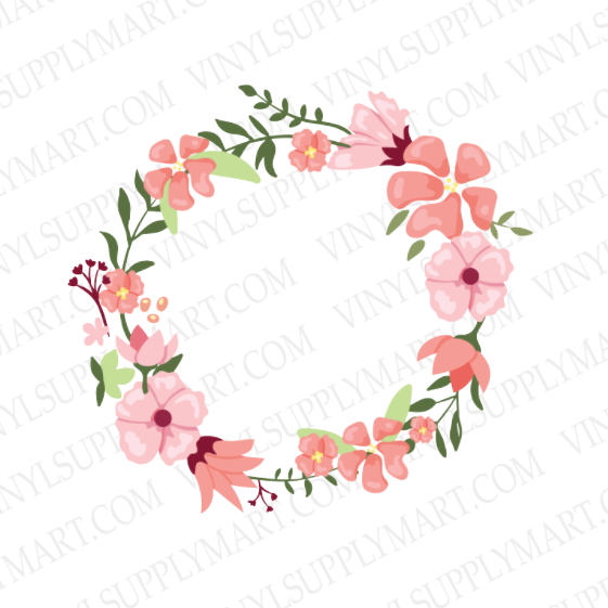 *Floral Wreath Pink 1 - SUBLIMATION TRANSFER