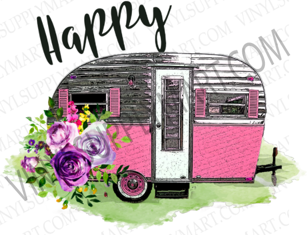 *Happy Camper - Pink Floral  - SUBLIMATION TRANSFER