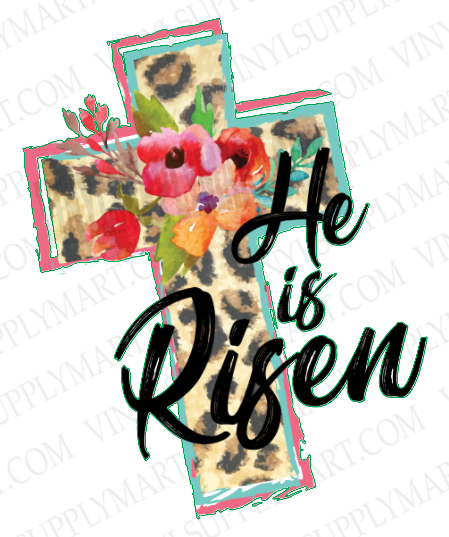 *He is Risen - Leopard Floral- SUBLIMATION TRANSFER