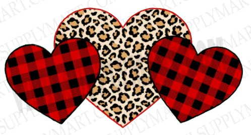 *Hearts - Plaid and Cheetah - SUBLIMATION TRANSFER