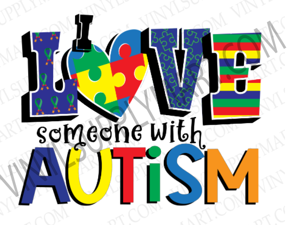 Autism Awareness, Love, Sublimation, Transfer