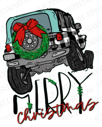 *Jeep Merry Christmas - SUBLIMATION TRANSFER