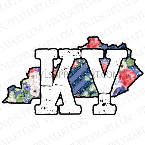 *KY State - Floral - SUBLIMATION TRANSFER