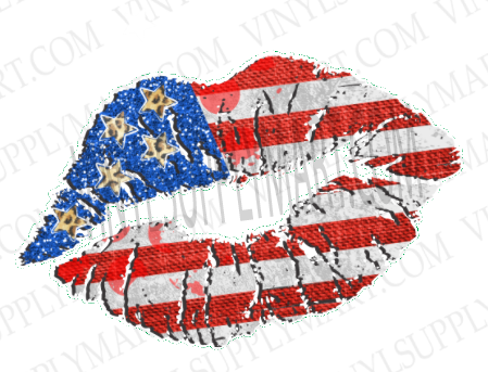 *Lips / Patriotic - HTV Transfer