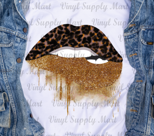 *Leopard Lips - Gold Glitter - Transfer