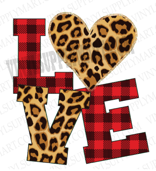 *Love Plaid / Leopard - HTV Transfer