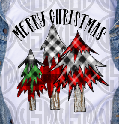 *Merry Christmas - Buffalo Plaid Trees - Transfer
