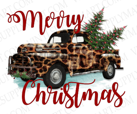 *Merry Christmas - Leopard Truck - SUBLIMATION TRANSFER
