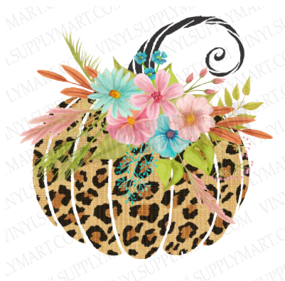 *Pumpkin- Leopard and Flowers - SUBLIMATION TRANSFER
