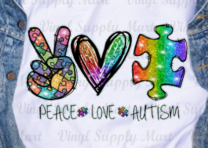 *Peace Love Autism - HTV Transfer