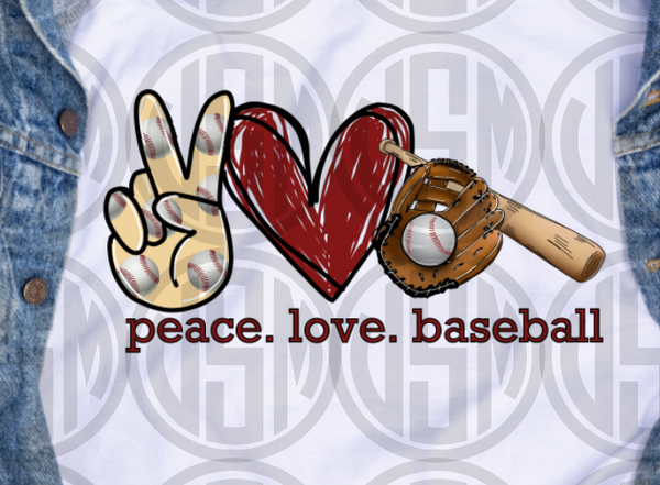 *Peace Love Baseball - Transfer