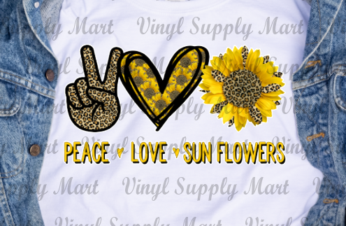 *Peace Love Sunflowers Transfer