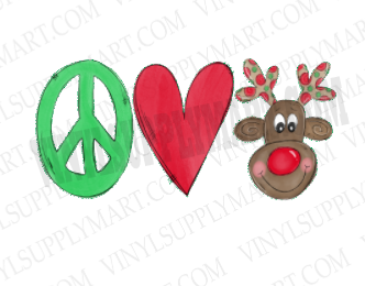 *Peace Love Reindeer - HTV Transfer