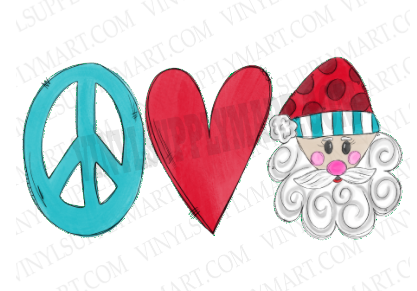*Peace Love Santa - SUBLIMATION TRANSFER